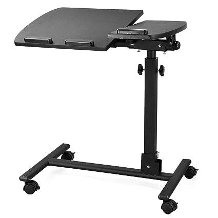 Tinxs – Mesa para cama con ruedas para ordenador puerta/uso hospitalaria altura ajustable negro