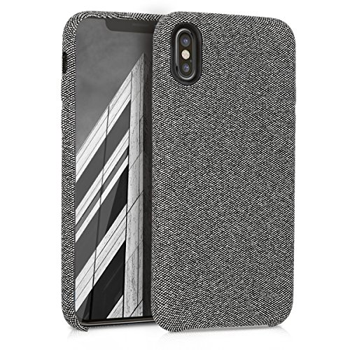 kwmobile TPU Case for Apple iPhone X - TPU and Fabric Smartphone Cell Phone Cover in Canvas Design - Grey