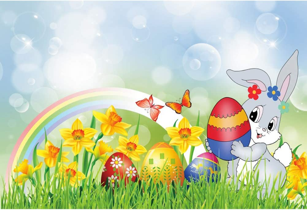 DORCEV 8x6ft Easter Bunny Backdrop for Spring Easter Party Photography Backdrop Cartoon Rainbow Rabbit Green Grass Floral Festival Holiday Party Banner Child Adult Portraits Photo Studio Props