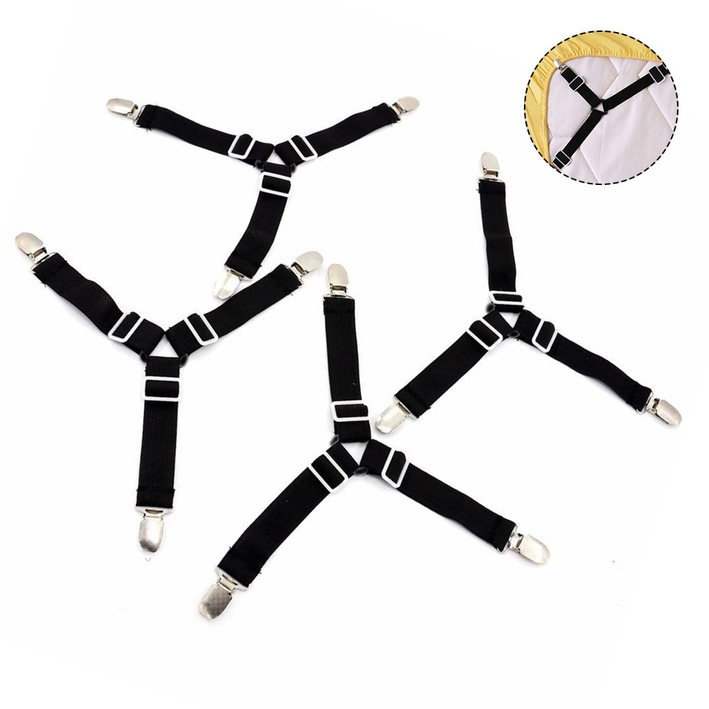 Newsoul 4pcs Triangle Bed Sheet Holder Fastener Grippers Clips with Elastic Suspender Straps for Bed Sheet, Sofa Cushion, Mattress