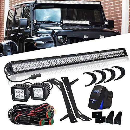 QUAKEWORLD DOT Approved 52 Inch 300W Offroad LED Light Bar + 4 Inch 18W Driving Fog Lights W/Rocker Switch DT Connector Wiring Harness Fit 2007-2015 Jeep Wrangler JK JKU