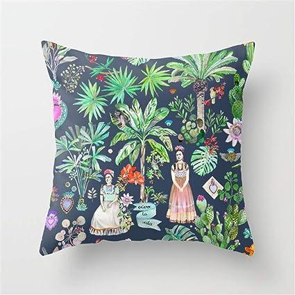 LESIF Frida Kahlo Botanics – Carbon Grey Almohada, Funda de cojín la Página de Inicio Almohada Fundas de Almohada 45 x 45 cm