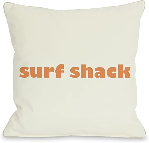 One Bella Casa Surf Shack Throw Pillow by OBC, 26 x 26 , Ivory Orange