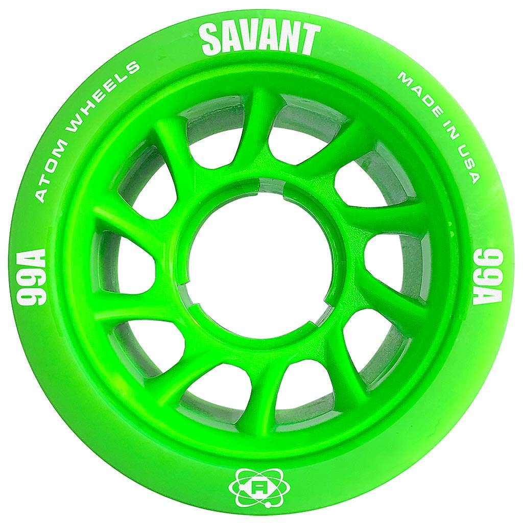ATOM Savant Roller Wheels - Ultra Light for Perfect Speed and Control, Green 99A, Set of 4 by ATOM