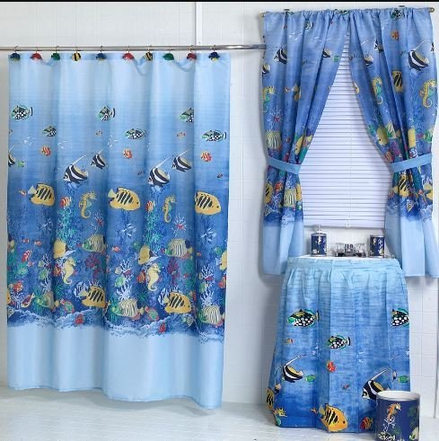 Home Fashions Tropical Fish Shower and Window Curtain ()