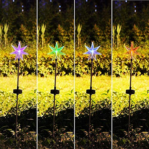Fashionlite Solar Powered Stake Lawn LED Light Seven Point Star Color Changing LEDs Outdoor Decoration Halloween Christmas Xmas Decor, 2 Pack