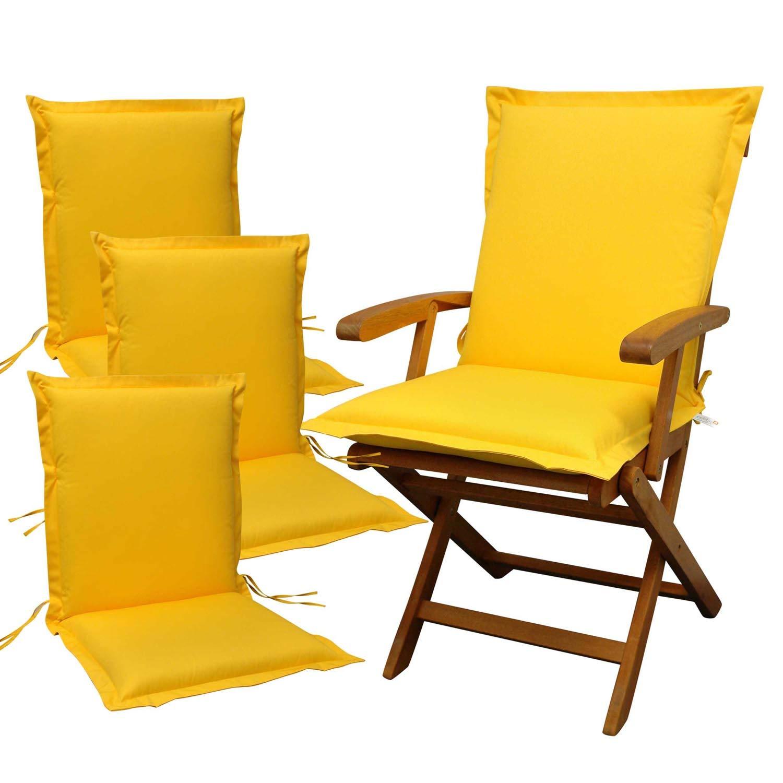 Indoba 4 x Sitzauflage Niederlehner Premium Polsterauflagen, Gelb