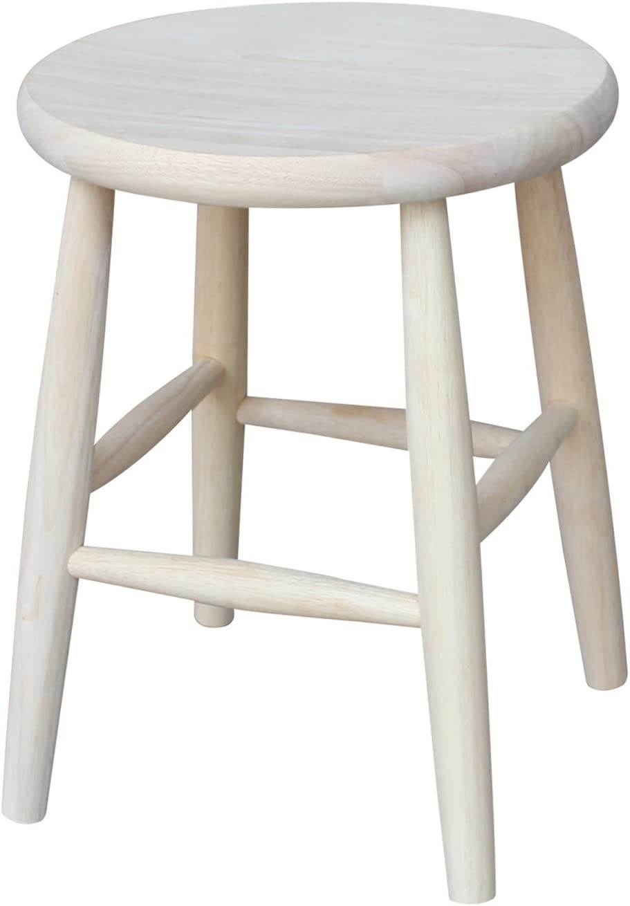 International Concepts 18-Inch Scooped Seat Stool, Unfinished