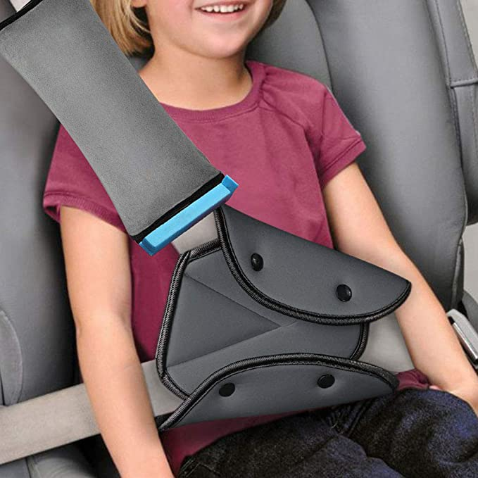 Shoulder Pad WP-TT/® 2pcs Auto Pillow Car Safety Belt Protect Adjust Vehicle Seat Belt Cushion For Kids (Grey,Pink)