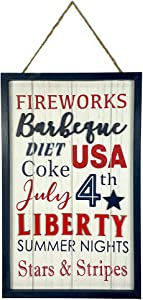 HOMirable 4th of July Decor Rustic Patriotic Wooden Wall Décor Farmhouse USA Sign Home Memorial Day Decoration Independence Day Decor for Porch Yard Living Room Bedroom Kitchen