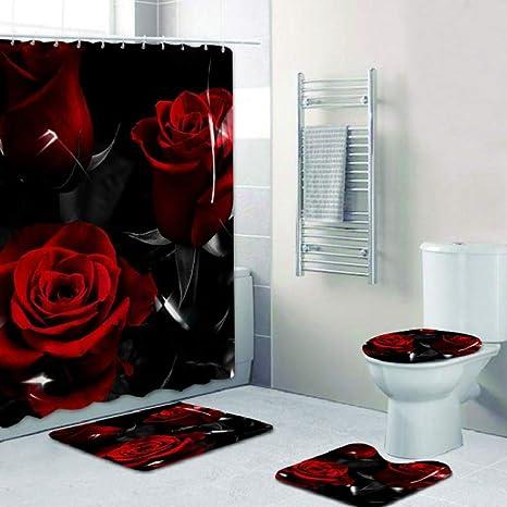 Rose Shower Curtain Thick Bathroom Rug Set Bath Mat Non-Slip Toilet Lid Cover