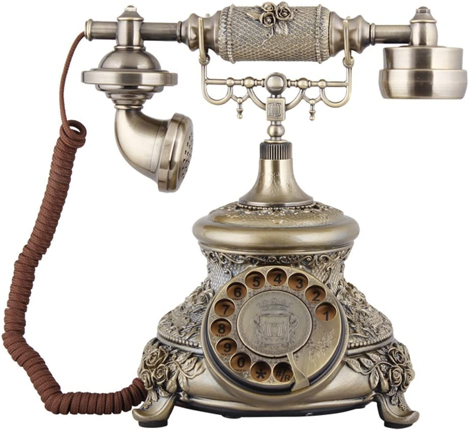 TelPal Bronze Retro Vintage Antique Style Rotary Dial Button Desk Telephone Phone Home Office Telephone Set