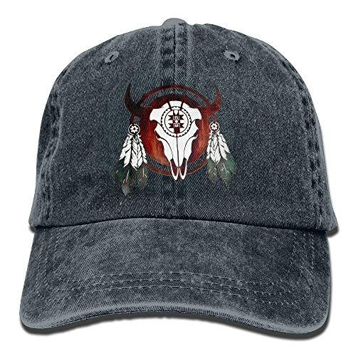 jinhua19 Gorras béisbol Native American Buffalo Skull Arrowhead Indian Denim Hat Washed Baseball Cap