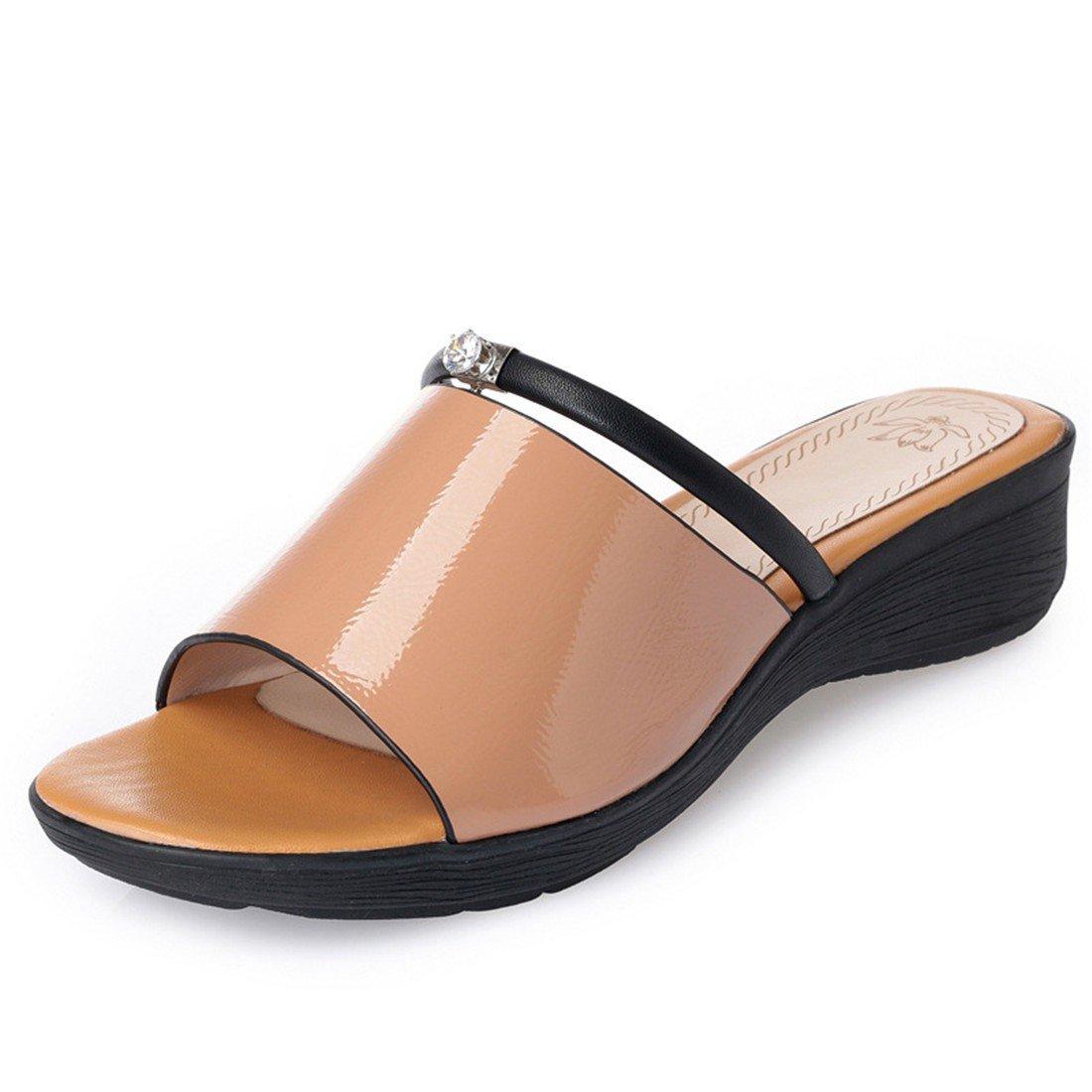 Damas Sandalias, Fondo Grueso Zapatillas, Gran Mollete Zapatos, Zapatos de Playa,Amarillo,Treinta y Siete US6.5-7 / EU37 / UK4.5-5 / CN37|yellow