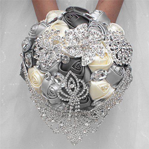 Calcifer Wedding Bridal Women Girl Bridesmaid Exquisite Floral Hand Wrist Flower/Artificial Groom Flowers Brooch with Pin/Wedding Floral Holding Bouquet (1 Pack,Wedding Bouquet,Gray+White+Silver)