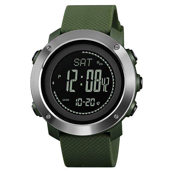 Reloj Brújula Army, Digital Reloj Deportivo Exterior para Hombres Mujeres, Podómetro Altímetro Barómetro Temperatura Impermeable con Caja de Metal: ...