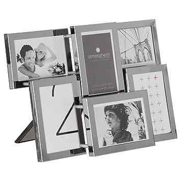 Portarretratos collage de colgar o de posar - Acero cromado - Capacidad 6 fotos: Amazon.es: Hogar