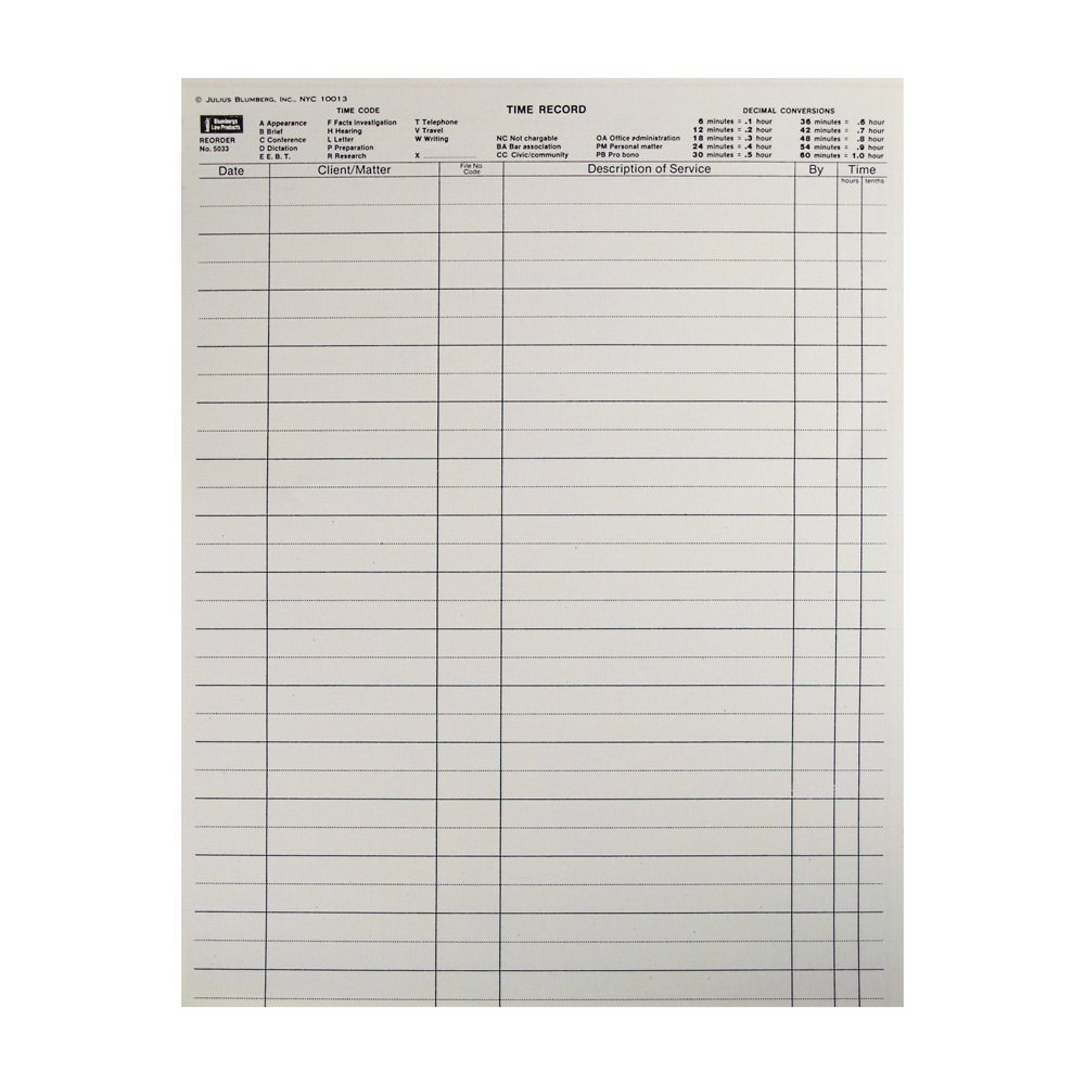 Time Record Sheets, 100 No Carbon Required Two-Part Sheets per Package (8.5-x-11-inch)