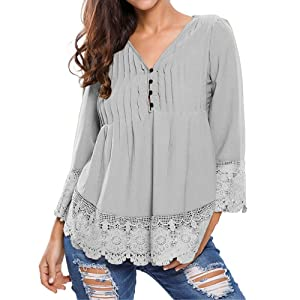Kalin L Women Lace Splicing Button Up 3/4 Sleeve Casual Pleated Shirt Blouse (L, Grey)