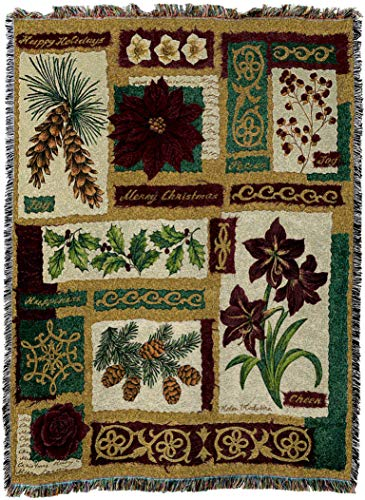 Pure Country Weavers - Christmas Collage Woven Tapestry Throw Blanket with Fringe Cotton USA Size 72 x 54