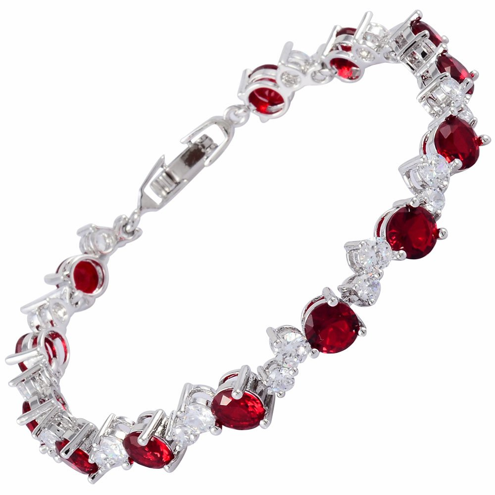 RIZILIA Tennis Bracelet & Round Cut CZ [4 Colors available] in White Gold Plated, 7 7 LB1279RED
