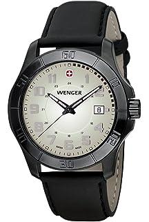 Amazon.com  Wenger Men s 77073 Squadron GMT Black Ion-Plating Rubber ... 718551e61a