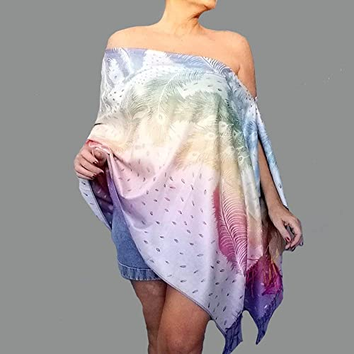 f7e7b504c0457 Amazon.com  Rainbow Shawl Wrap Ombre Pastel Scarf Off The Shoulder Top By  ZiiCi  Handmade
