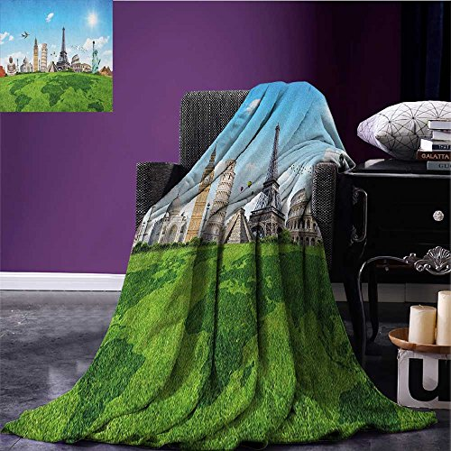 Map Custom blanket Famous Historical Monuments of the World Theme Holiday Travel Destinations all weather blanket Pale Blue Green Ivory size:51