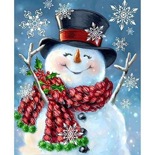 5D Diamond Painting Rhinestone Snowman Snowflake Lovely Embroidery Wallpaper DIY Cross Stitch Kit Crystal Full Drill Drawing for Adult Tools Home Decoration 24X30cm