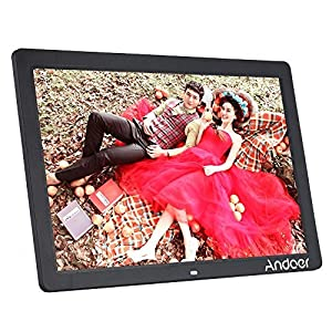 Andoer 17 inch LED Digital Photo Picture Frame High Resolution 1440900 Scroll Caption 1080P Advertising Machine MP3 MP4 with Remote Control Christmas Gift Present Valentine's Day present