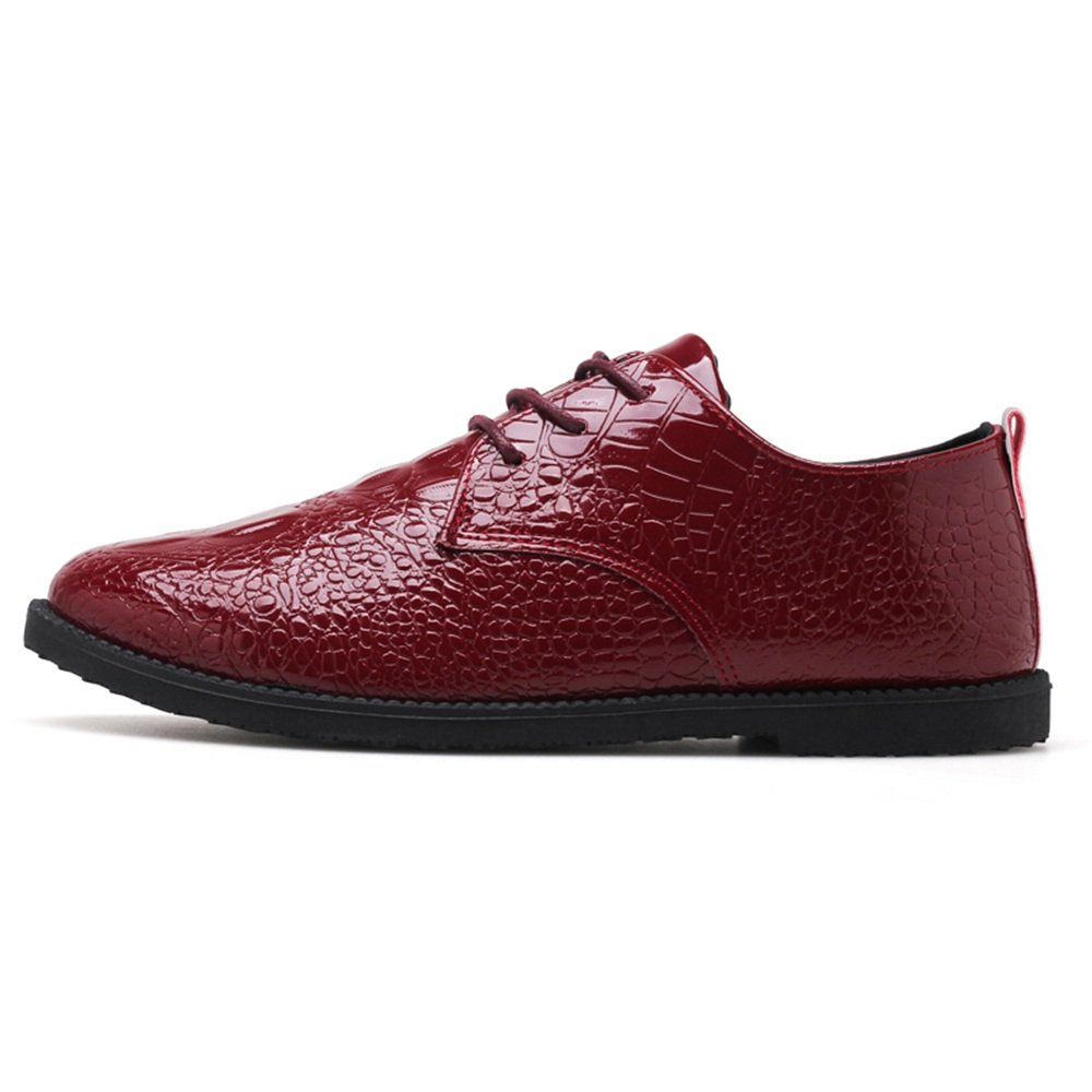 Z.L.F Oxford Shoes for Men Fashion Loafer Flat Heel Snakeskin PU Leather Lace Up Solid Color Casual Shoes