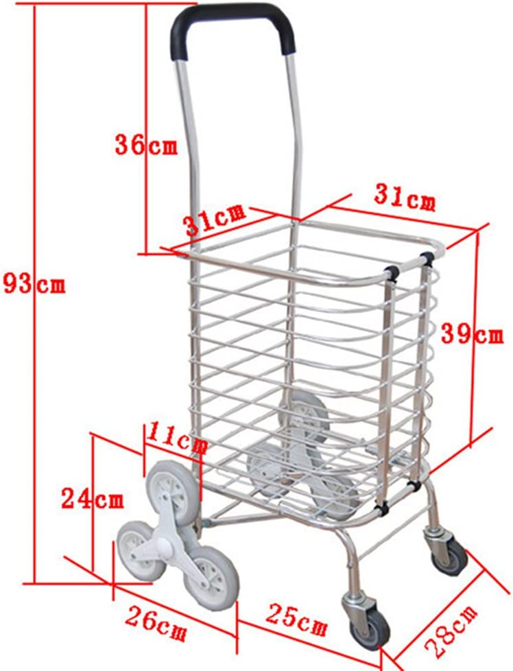 RYYAIYL Climbing Stairs Caged Shopping Trolley Lightweight 8 Wheel Cart Foldable Grocery