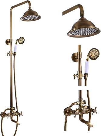 """Antique Brass Bathroom 8/"""" Rain Shower Tap Shower Mixer Faucet Valve W//Tub Spout"""