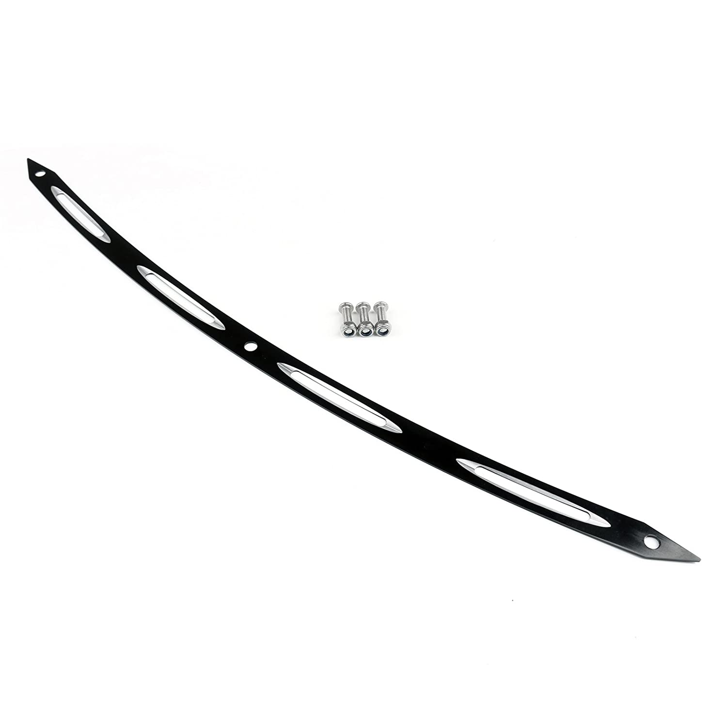 Areyourshop Black Spear Deep Cut Beveled Windshield Trim For 1996-2013 Harley Touring FLHT
