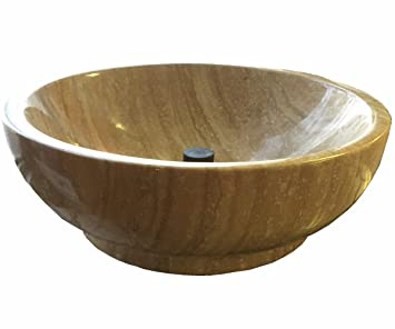 Stone Vessel Sink Travertine Stone Bathroom Top Mount Round Sink Bowl Yg18
