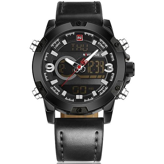 5437e9163962 Naviforce reloj marca de lujo hombres resistente al agua militar deportes  relojes hombres del cuarzo digital correa de cuero hombre reloj de cuarzo -  Negro  ...