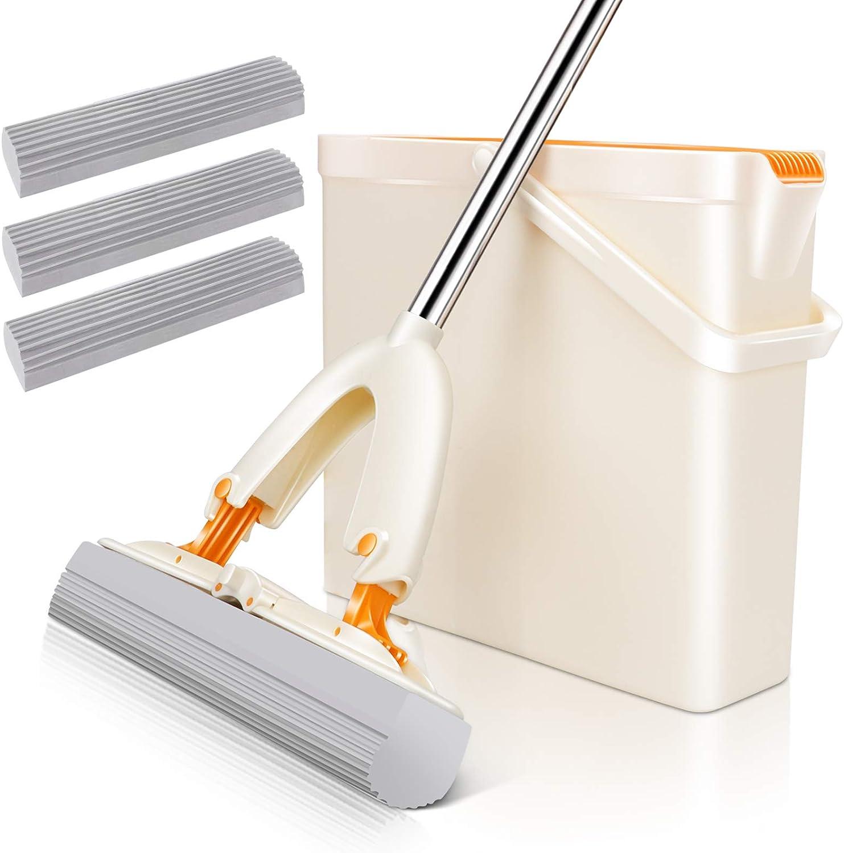 MASTERTOP Sponge Mop and Bucket Set - Sponge Mop for Floors Walls Tile Floors Shower Rubber Floor, Mop with Wringer Bucket for Home, 3 Pcs Super Absorbent PVA Sponge