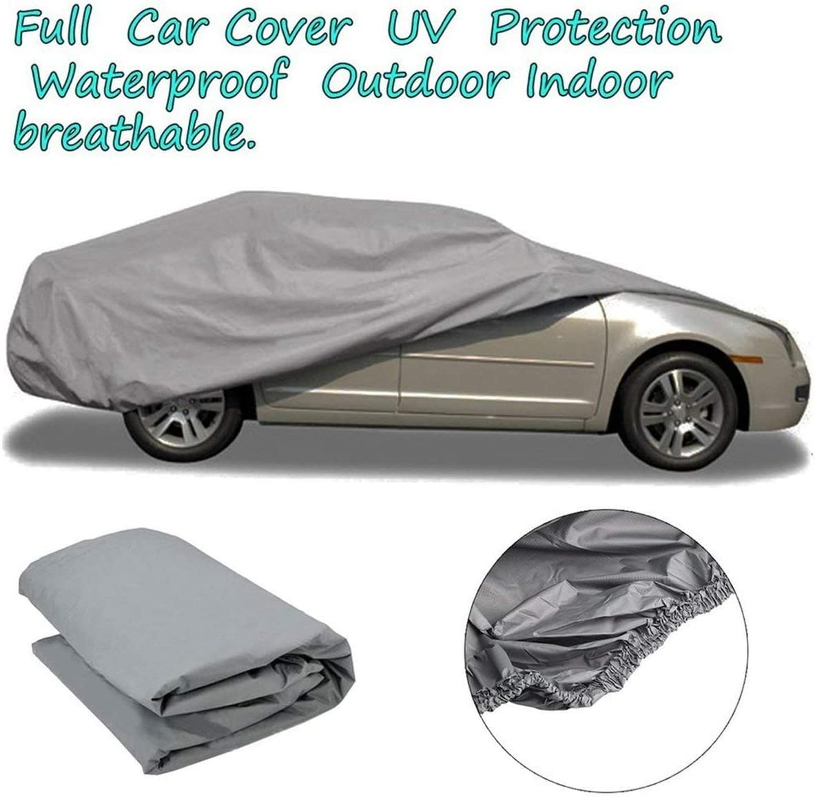 Greatangle Waterproof Dustproof Outer Membrane Full Car Cover UV Resistant Fabric Breathable Outdoor Rain Snow Ice Resistant