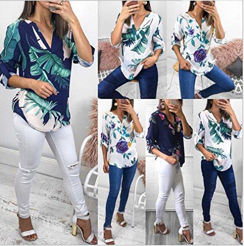 Tops Blouse Hauts Chemisiers New Longues Imprime Ajustable et V Casual Shirts Mode Col Tee Chemises Bleu2 Irrgulier Manches Femmes Automne Printemps wxSzBw