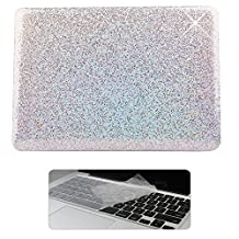Rinbers 2 in 1 Bling Shiny Print Soft Touch Rubberized Hard Shell Clip Snap On Case Cover with KB Cover for New MacBook Pro 13 inch Retina 2016 w w/o Touch Bar&ID (Model:A1706 A1708) - Bling Silver