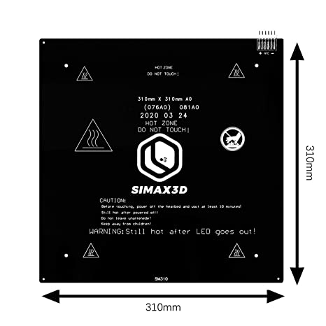 Updated Version of MK2A MK2B SIMAX3D 3D Printer Aluminum Heated Bed Black,with 1m Cable 24V 220W 310x310mm Heating Plate Platform CR10 Hot Bed for Ender 3