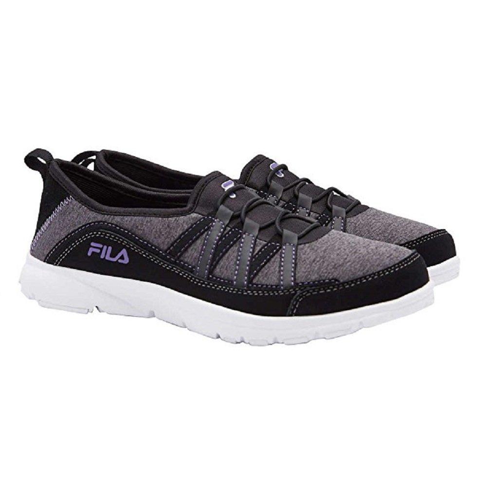 Fila Womens Pilota Memory Foam Breathable Slip On Shoe Sneaker (7.5, Black) by Fila