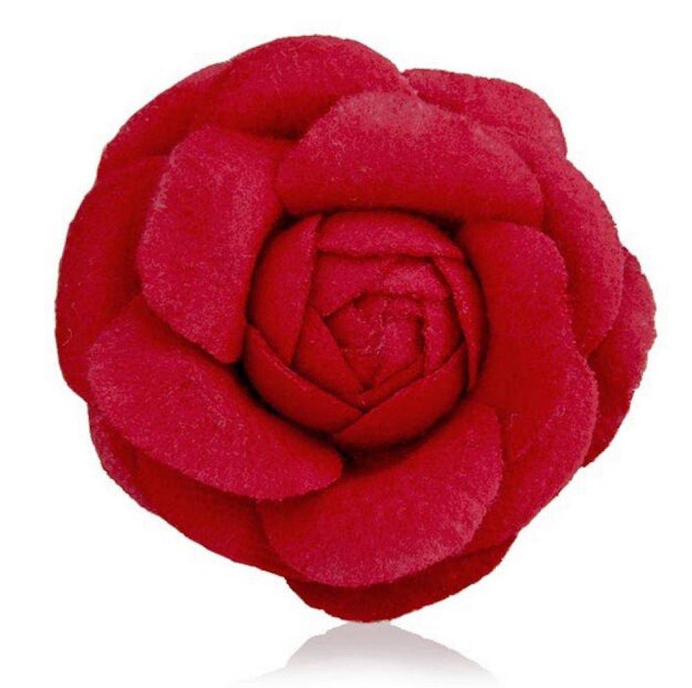MISASHA Celebrity Designer Fabric Tweed Camellia Red Flower Pin Brooch Fashion Jewelry