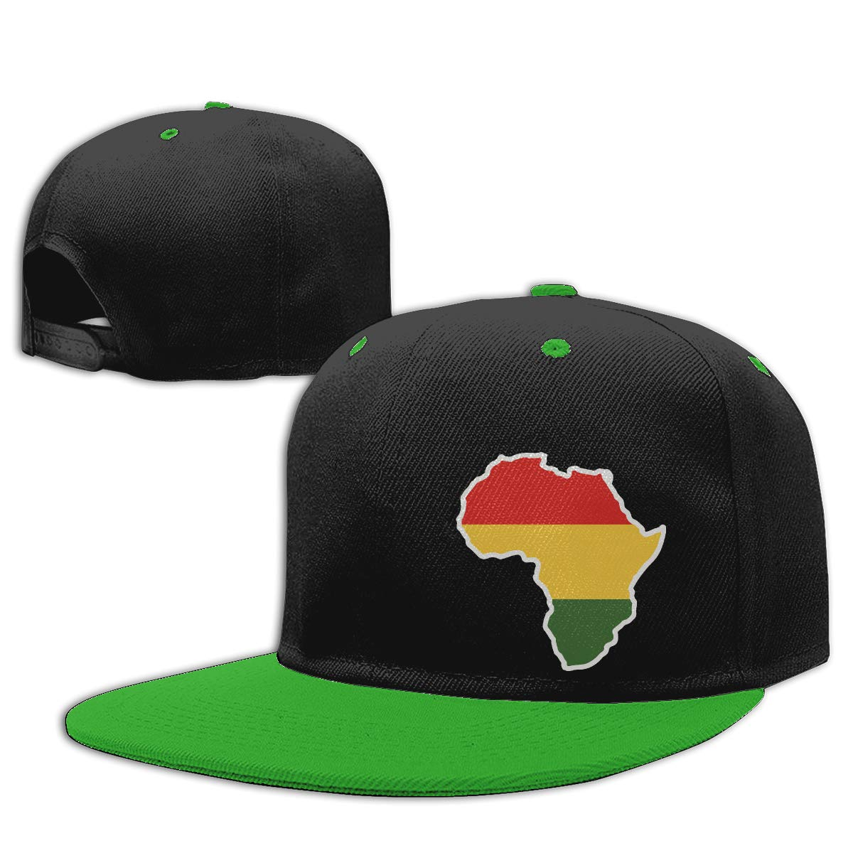 NMG-01 Men and Women Hiphop Cap Africa Flag Adjustable Flat Peaked Baseball Caps