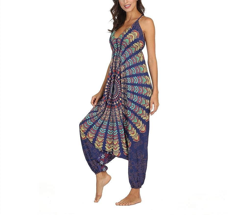 VLUNT HOME Frau Yoga Hosen Drucken Baggy Harem Hosen Halter Einteiliges Yoga Hosen Fitness Sport Hosen