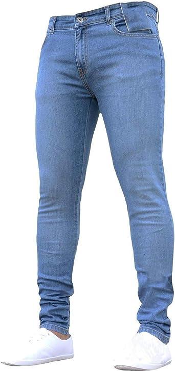Pantalones Vaqueros De Corte Slim Para Hombre Pantalones Vaqueros Pitillo De Color Solido Informal Amazon Es Ropa Y Accesorios