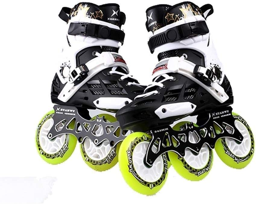 XDSAインラインスケート インラインスケート、成人用1列スケート、フルフラッシュスケート、白3輪110MMホイール (Color : A, Size : 40 EU/7.5 US/6.5 UK/25cm JP)