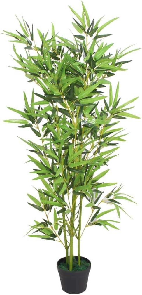 vidaXL Árbol de Bambú Artificial Macetero 120 cm Verde Maceta Planta Plástico