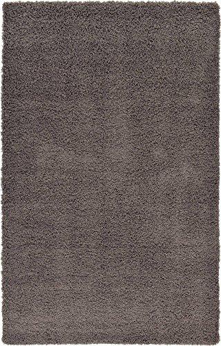Unique Loom Solo Solid Shag Collection Modern Plush Graphite Gray Area Rug (5' x 8')