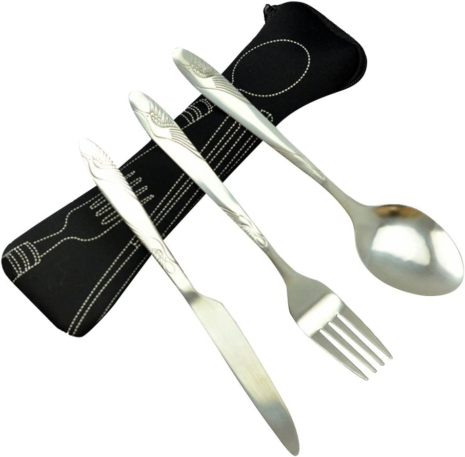 BESTONZON Set de vajilla de acero inoxidable de 3 piezas incluye cuchillo, tenedor, cuchara, bolsas - Set de cubiertos de viaje/cubiertos de viaje portátil de plata ligera (Negro)